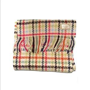 Coach multi colored plaid fringe scarf